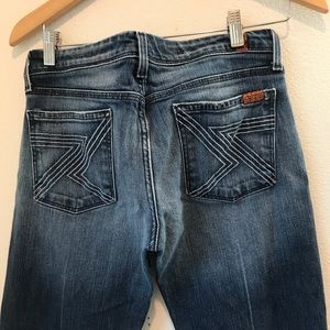 7 For all Mankind dark rinse distressed bootcut 30